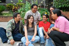 Hispanic students having fun together stock image