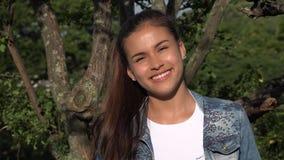 Hispanic Teen Girl In Park stock footage