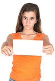 Hispanic teen holding a blank sign Royalty Free Stock Image