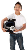 Hispanic Teen Racer. Cute Hispanic youth racer smiling with helmet in hand on white background Royalty Free Stock Image
