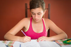 Hispanic teenage girl studying Royalty Free Stock Image