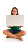 Hispanic teenager holding laptop Royalty Free Stock Images