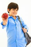Hispanic ten year old with apple Royalty Free Stock Photo
