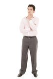 Hispanic thinking man isolated on white Royalty Free Stock Photo