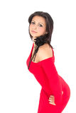Hispanic woman. Dressed in a red dress Stock Photos