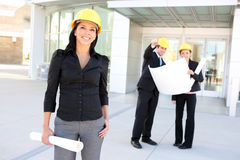 Hispanic Woman Architect. A young pretty hispanic woman architect with at building work site Royalty Free Stock Images