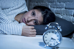 Free Hispanic Woman At Home Bedroom Lying In Bed Late At Night Trying To Sleep Suffering Insomnia Stock Images - 82003554