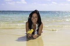Hispanic woman in bikini at the beach Royalty Free Stock Photos