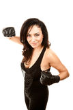 Hispanic Woman in Boxing Gloves Royalty Free Stock Photography