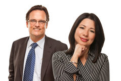Hispanic Woman with Businessman on White Royalty Free Stock Photography