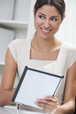 Hispanic Woman Businesswoman Using Tablet Computer Stock Image