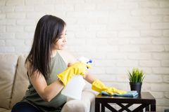 Pretty young housewife wiping table at home. Hispanic woman cleaning table with cleanser and rag in living room at home Stock Image