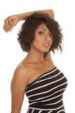 Hispanic woman close up arm on head Stock Image