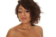 Hispanic woman close up look down Stock Photos