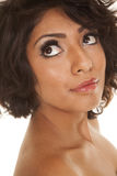 Hispanic woman close up look up Stock Photo