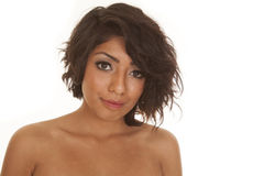 Hispanic woman close up looking serious royalty free stock photos