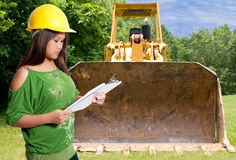 Hispanic Woman  Construction Worker Stock Image