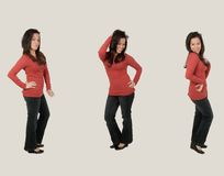Hispanic Woman dancing. Attractive young woman showing her dance move Royalty Free Stock Images