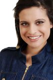 Hispanic woman with denim jacket. Isolated Hispanic woman with denim jacket on white background royalty free stock image
