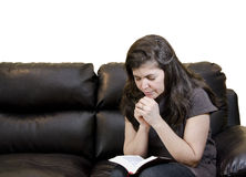 Hispanic Woman Daily Devotional Stock Photography