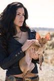 Hispanic woman and dog Royalty Free Stock Photo