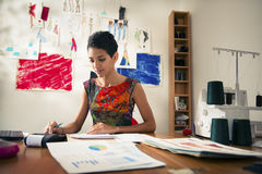 Hispanic woman doing budget in fashion atelier