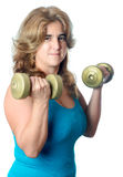 Hispanic woman exercising with weights Royalty Free Stock Image