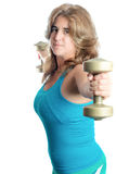 Hispanic woman exercising with weights Stock Images