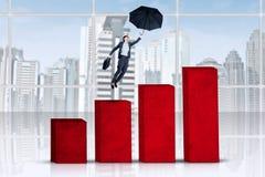 Hispanic woman flying over business chart vector illustration