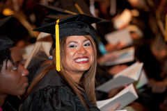 Hispanic Woman on Graduation Day Royalty Free Stock Images