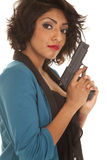 Hispanic woman gun serious close Royalty Free Stock Photo