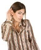 Hispanic Woman With Hand Near Ear Royalty Free Stock Photo