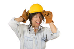 Hispanic Woman, Hard Hat, Goggles, Work Gloves. Attractive Smiling Hispanic Woman Wearing Hard Hat, Goggles and Leather Work Gloves Isolated on a White Stock Photo