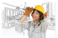 Hispanic Woman in Hard Hat with Kitchen Drawing Behind Royalty Free Stock Images