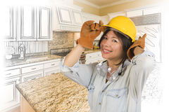 Hispanic Woman in Hard Hat with Kitchen Drawing and Photo vector illustration