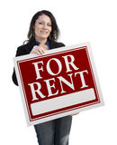 Hispanic Woman Holding For Rent Sign On White Stock Images