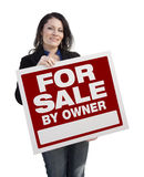 Hispanic Woman Holding For Sale By Owner Sign On White Stock Photos