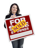 Hispanic Woman Holding Sold For Sale By Owner Sign Royalty Free Stock Photo