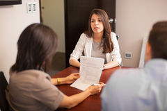 Hispanic woman in job interview Stock Image