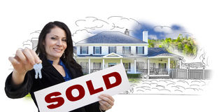 Hispanic Woman, Keys, Sold Sign Over House Drawing and Photo on White Stock Photos