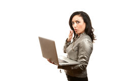 Hispanic Woman with Laptop Royalty Free Stock Photo