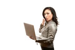 Hispanic Woman with Laptop Royalty Free Stock Photo
