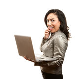 Hispanic Woman with Laptop Royalty Free Stock Images