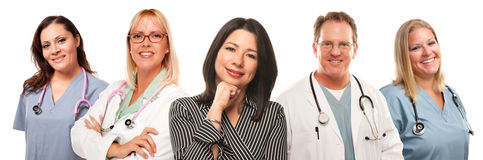 Hispanic Woman with Male and Female Doctors. Beautiful Hispanic Woman with Male and Female Doctors or Nurses Isolated on a White Background Stock Photo