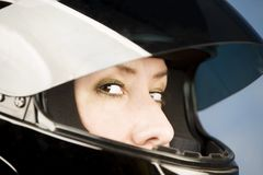 Hispanic woman with a motrcycle helmet Royalty Free Stock Photo