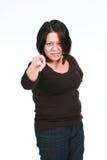 Hispanic woman pointing finger Royalty Free Stock Photo