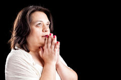 Hispanic woman Praying Stock Images
