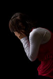 Hispanic Woman Praying and Crying Royalty Free Stock Photos