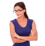 Hispanic woman in purple dress and spectacles Royalty Free Stock Photo