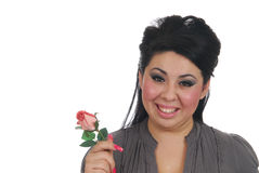 Hispanic woman with a rose Royalty Free Stock Image